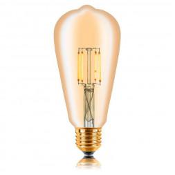 Лампа светодиодная филаментная E27 4W 2200K золотая 057-271