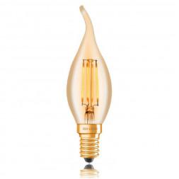 Лампа светодиодная филаментная диммируемая E14 4W 2200K золотая 057-349