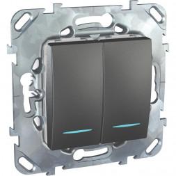 Переключатель двухклавишный с подсветкой Schneider Electric Unica MGU5.0303.12NZD
