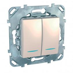 Переключатель двухклавишный с подсветкой Schneider Electric Unica MGU5.0303.25NZD
