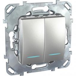Переключатель двухклавишный с подсветкой Schneider Electric Unica MGU5.0303.30NZD