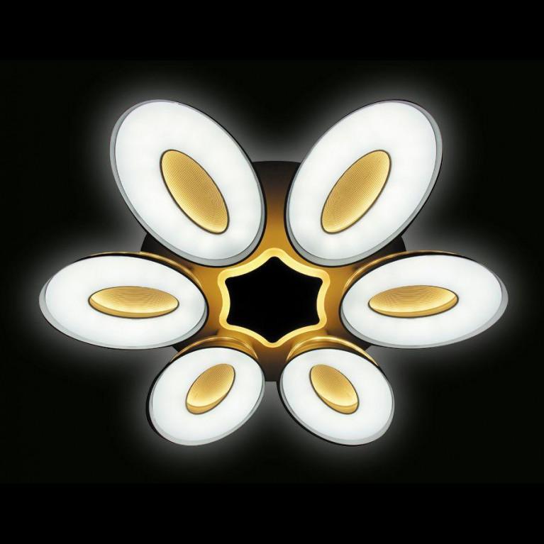 Потолочная светодиодная люстра Ambrella light Orbital Granule FG1022/6+1 WH 144W+80W D1000
