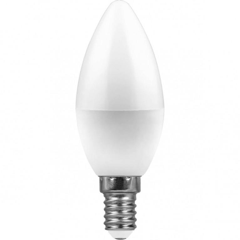 Лампа светодиодная Feron E14 7W 4000K Свеча матвоая LB-97 25476