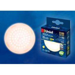 Лампа светодиодная (UL-00003722) GX53 10W 3000K матовая LED-GX53-10W/WW/GX53/FR PLZ01WH