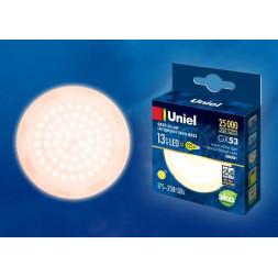 Лампа светодиодная (UL-00003724) GX53 13W 3000K матовая LED-GX53-13W/WW/GX53/FR PLZ01WH