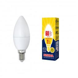 Лампа светодиодная (UL-00003796) E14 7W 3000K матовая LED-C37-7W/WW/E14/FR/NR