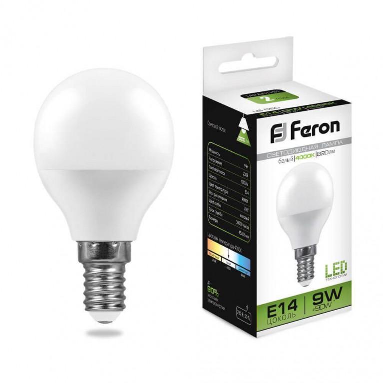 Лампа светодиодная Feron E14 9W 4000K Шар Матовая LB-550 25802
