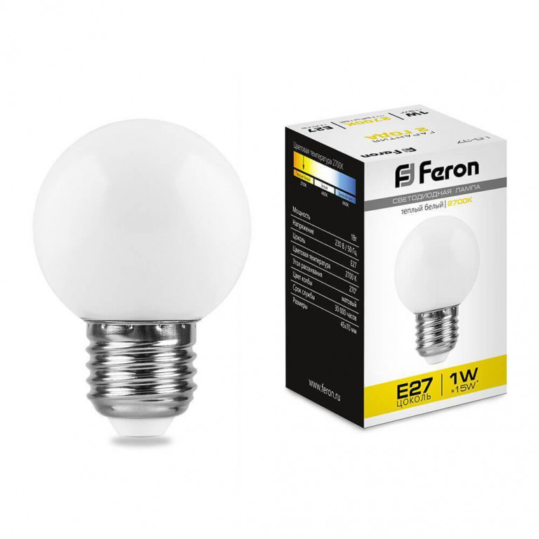 Лампа светодиодная Feron E27 1W 2700K Шар Матовая LB-37 25878