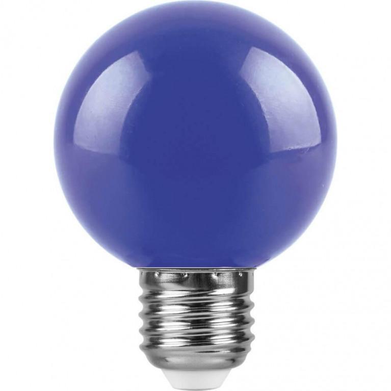 Лампа светодиодная Feron E27 3W синий Шар Матовая LB-37125906