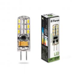Лампа светодиодная Feron G4 2W 4000K Прямосторонняя Матовая LB-420 25448