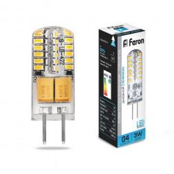 Лампа светодиодная Feron G4 3W 6400K Прямосторонняя Матовая LB-422 25533