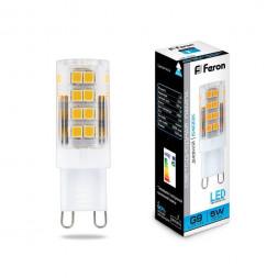 Лампа светодиодная Feron G9 5W 6400K Прямосторонняя Матовая LB-432 25771