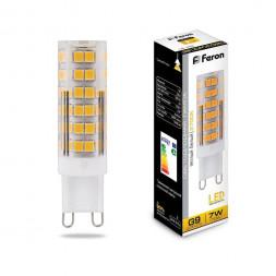 Лампа светодиодная Feron G9 7W 2700K Прямосторонняя Матовая LB-433 25766