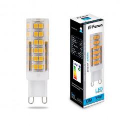 Лампа светодиодная Feron G9 7W 6400K Прямосторонняя Матовая LB-433 25768