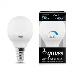Лампа светодиодная диммируемая E14 7W 4100K матовая 105101207-D