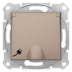 Розетка Schneider Electric Sedna с з/к со шторками и крышкой 16A 250V SDN3100468