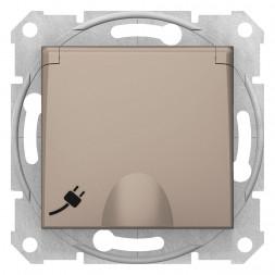 Розетка Schneider Electric Sedna с з/к со шторками и крышкой 16A 250V SDN3100568