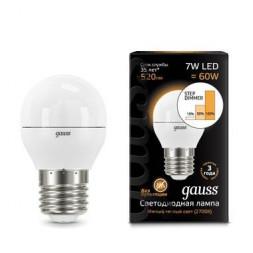 Лампа светодиодная диммируемая E27 7W 3000K матовая 105102107-S