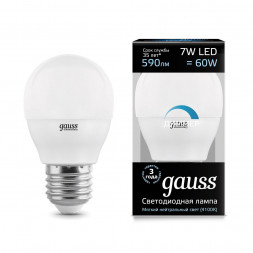 Лампа светодиодная диммируемая E27 7W 4100K матовая 105102207-D