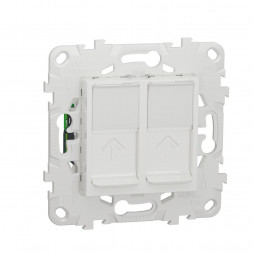 Розетка компьютерная RJ45X2 Schneider Electric Unica New Cat. 5e UTP NU542018