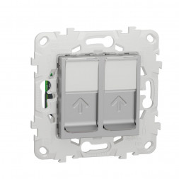 Розетка компьютерная RJ45X2 Schneider Electric Unica New Cat. 5e UTP NU542030