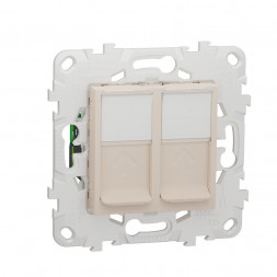Розетка компьютерная RJ45X2 Schneider Electric Unica New Cat. 6 UTP NU542044