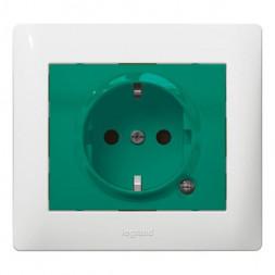 Розетка 2К+З Legrand Galea Life 16A 250V с/з со шторками подсветкой зеленая 771044