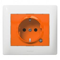 Розетка 2К+З Legrand Galea Life 16A 250V с/з со шторками подсветкой оранжевая 771045