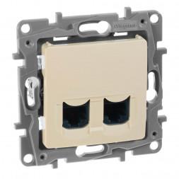 Розетка компьютерная 2хRJ45 Legrand Etika 6 кат UTP слоновая кость 672354