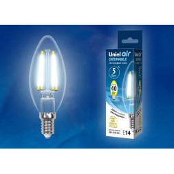 Лампа светодиодная филаментная (UL-00002862) E14 5W 4000K LED-C35-5W/NW/E14/CL/DIM GLA01TR