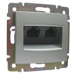 Розетка компьютерная 2хRJ45 Legrand Valena 6 кат STP на винтах алюминий 770245