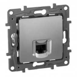 Розетка компьютерная RJ45 Legrand Etika 5 кат UTP алюминий 672441