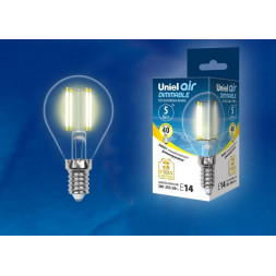 Лампа светодиодная филаментная (UL-00002866) E14 5W 3000K LED-G45-5W/WW/E14/CL/DIM GLA01TR