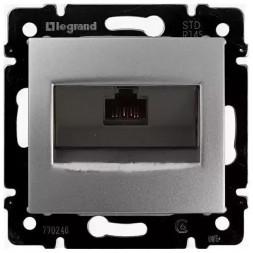 Розетка компьютерная RJ45 Legrand Valena 6 кат UTP с захватами алюминий 770246