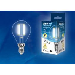 Лампа светодиодная филаментная (UL-00002870) E14 5W 4000K LED-G45-5W/NW/E14/CL/DIM GLA01TR