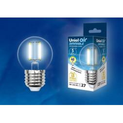 Лампа светодиодная филаментная (UL-00002871) E27 5W 4000K LED-G45-5W/NW/E27/CL/DIM GLA01TR