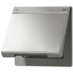 Крышка откидная для розеток и изделий 50х50 с полем для надписи Jung LS 990 edelstahl ES2990NAKL
