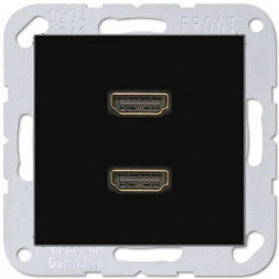 Розетка HDMI двойная Jung A 500 черная MAA1133SW