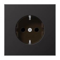 Розетка с заземлением безвинтовой зажим Jung LS 990 dark AL1520D