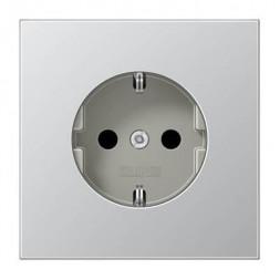 Розетка с заземлением безвинтовой зажим Jung LS 990 алюминий AL1520