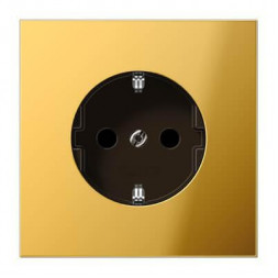 Розетка с заземлением безвинтовой зажим Jung LS 990 блеск золота GO2520