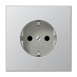 Розетка с заземлением с защитными шторками безвинтовой зажим Jung LS 990 алюминий AL1520KI