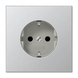 Розетка с заземлением с защитными шторками безвинтовой зажим Jung LS 990 алюминий AL2520KI
