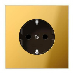 Розетка с заземлением с защитными шторками безвинтовой зажим Jung LS 990 блеск золота GO2520KI