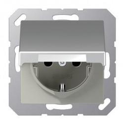 Розетка с заземлением с крышкой безвинтовой зажим Jung A 500 алюминий A1520KLAL