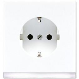 Розетка с заземлением, подсветка белая Jung LS 990 белая (лакированный алюминий) LS520-OWWLEDW