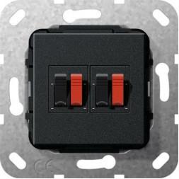 Аудиорозетка 2-местная Gira System 55 черный матовый 569310