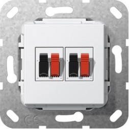 Аудиорозетка 2-местная Gira System 55 чисто-белый глянцевый 569303