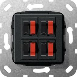 Аудиорозетка 4-местная Gira System 55 черный матовый 569410
