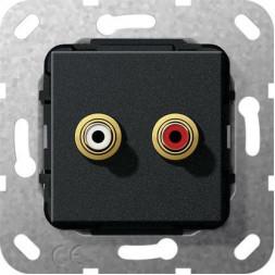 Аудиорозетка Тюльпан Gira System 55 черный матовый 563210